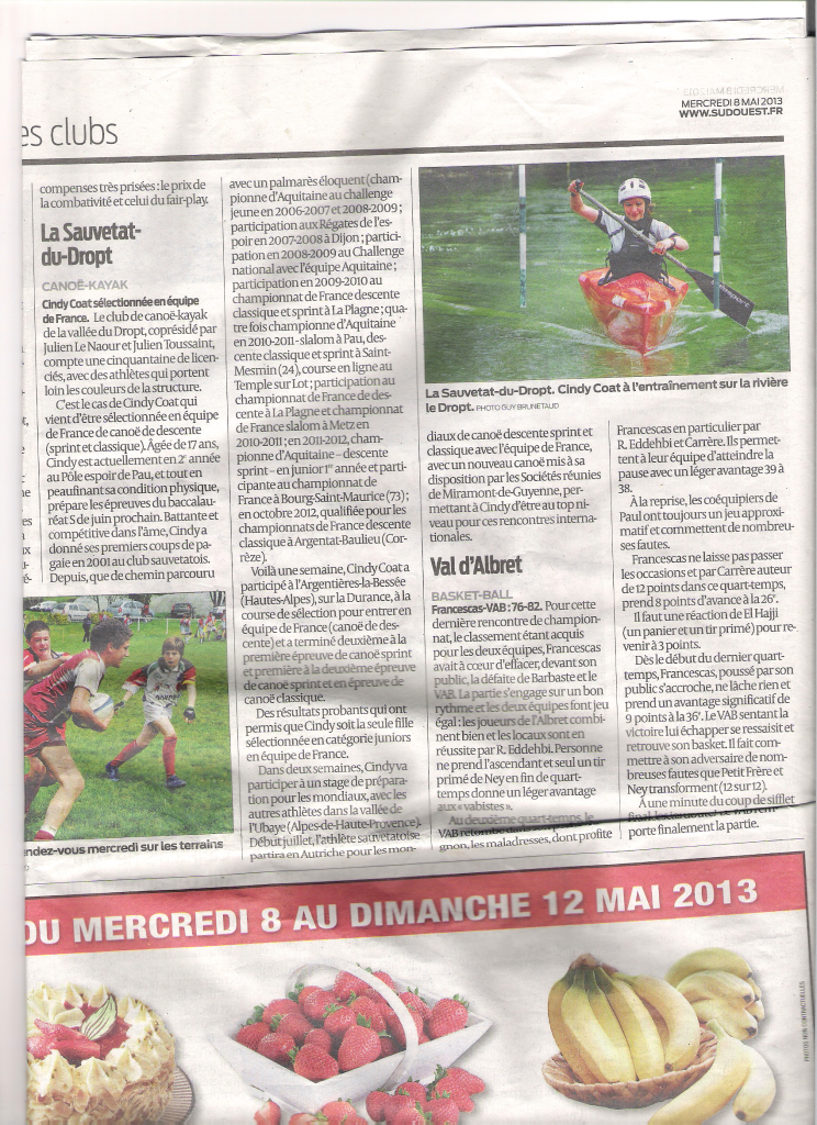 article sud ouest selection cindy